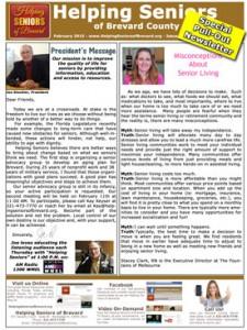 Helping Seniors - February 2015 Newsletter
