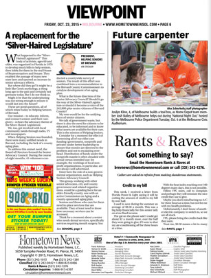 "A Replacement for the ""Silver Haired Legislature"" - Hometown News - October 23 2015"