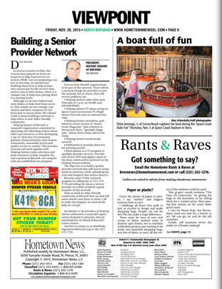 "November 2015 Hometown News Helping Seniors Column - ""Building a Senior Provider Network"""