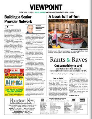 "November 2015 Hometown News Helping Seniors Column - ""Building a Senior Provider Network"""