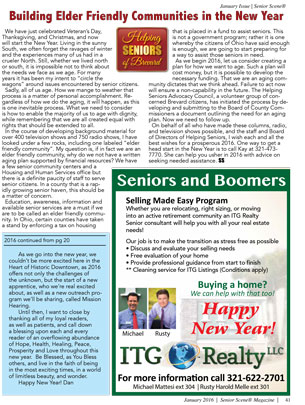 Building Elder Friendly Communities in the New Year - Helping Seniors in Senior Scene Magazine - January 2016