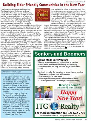 Building Elder Friendly Communities in the New Year - Helping Seniors in Senior Scene Magazine - January 2016