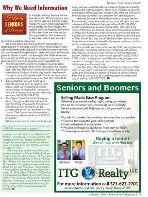 Why We Need Information - Helping Seniors February 2016 in Senior Scene