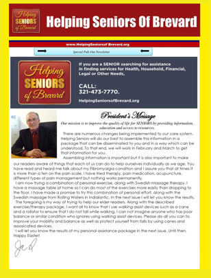 Helping Seniors March 2016 Newsletter