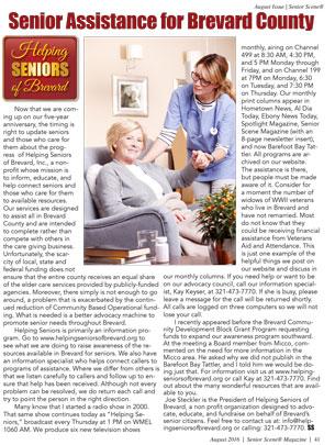 Helping Seniors in Senior Scene - August 2016