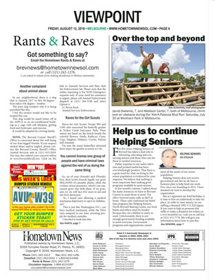 Hometown News - Helping Seniors - August 2016