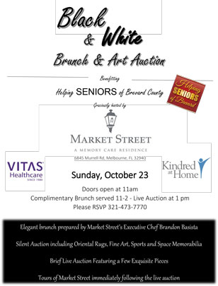Black & White Brunch & Art Auction Flyer