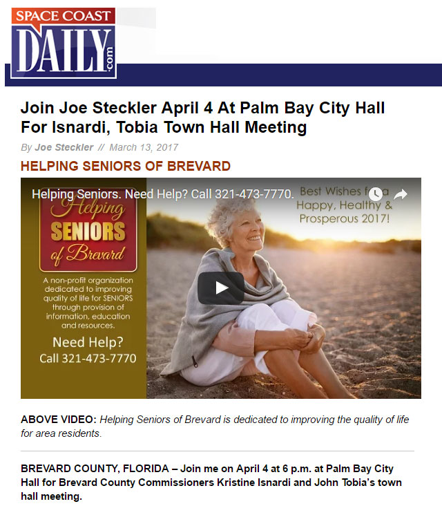 Joe Steckler in Space Coast Daily
