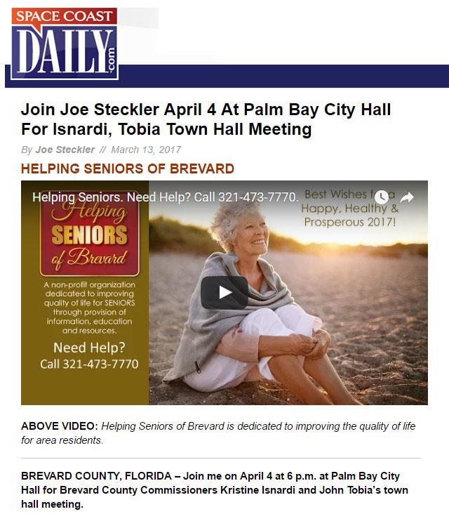 Joe Steckler in Space Coast Daily