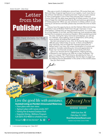 Letter from the Publisher - Senior Scene Magazine