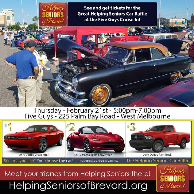 Helping Seniors Car Raffle at Five Guys Cruise In