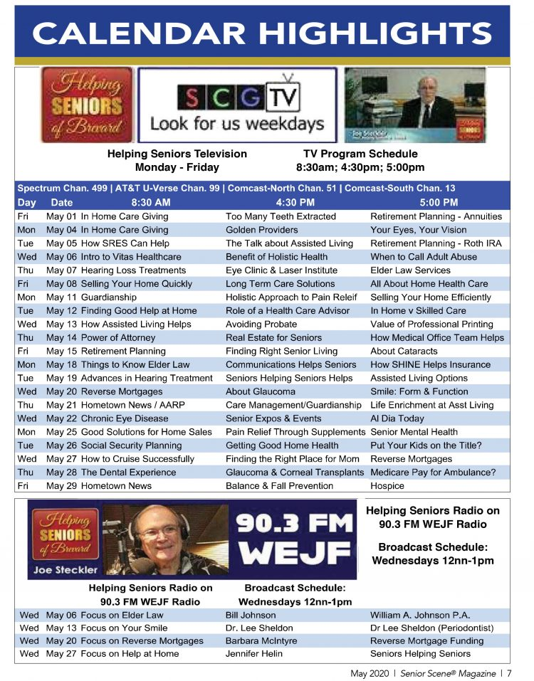 Helping Seniors TV Radio Calendar