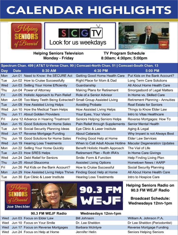 Helping Seniors TV & Radio Schedule - June 2020
