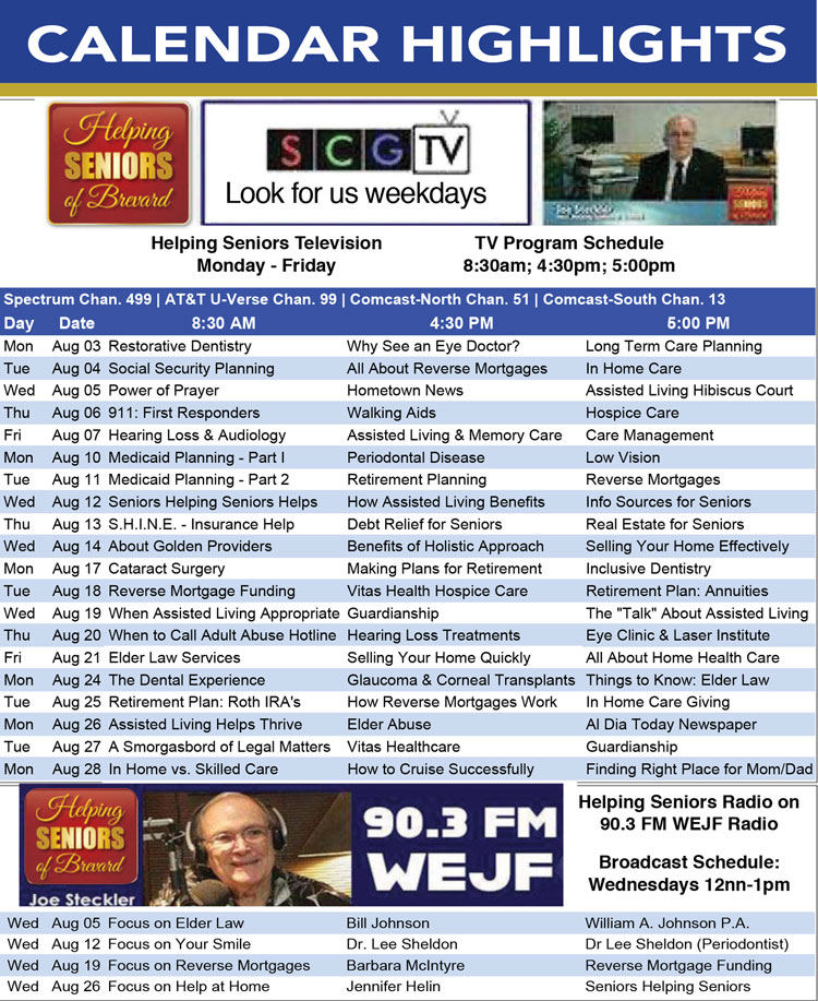 Helping Seniors TV & Radio Calendar