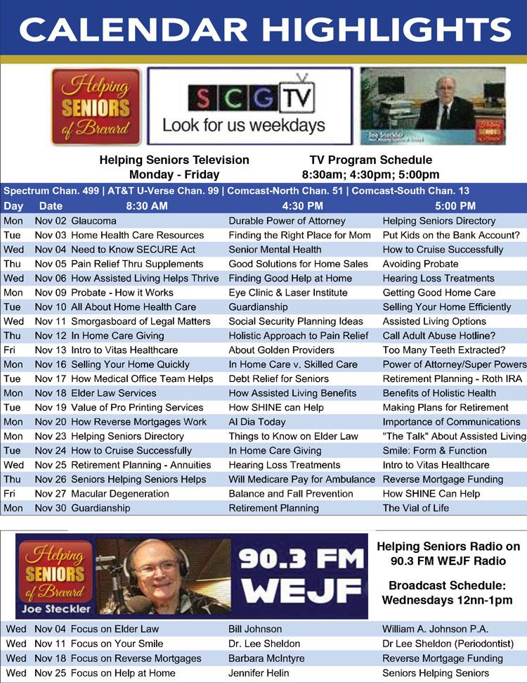 Helping Seniors TV Schedule