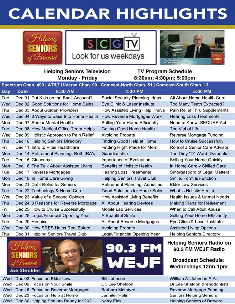 Helping Seniors Radio & TV Calendar