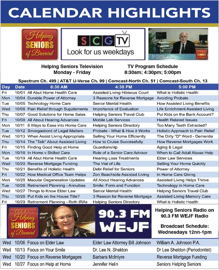 Helping Seniors TV Radio Schedule